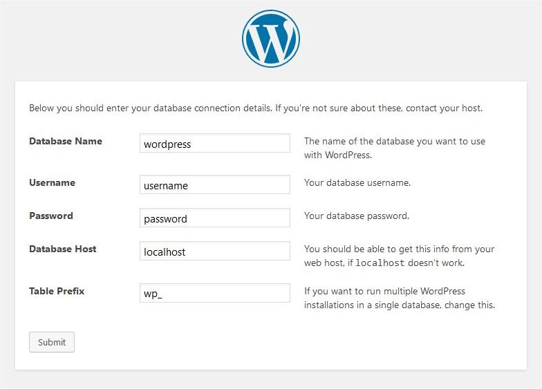 pripojeni k databazi wordpressu